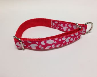 Limited Slip Dog Collar, Small Red Limited Slip Collar, Small Red Hearts Limited Slip Dog Collar, Small Adjustable Hearts Dog Collar