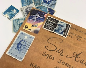 17 used vintage Assorted Blue vintage postage stamps | Perfect for scrapbooking, stamp collecting, snail mail art, and crafting