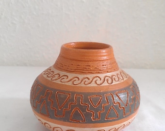 Ethnic MINI wide bud Vase handmade in Chile Eclectic decor earthenware