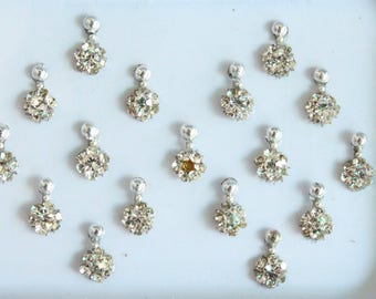 Silver Tiny Bindis Face Jewels,Wedding Bindis,Stone Bindis,Silver Bindis,India Bindis,Bollywood Bindis, Long Bindis, Self Adhesive Stickers