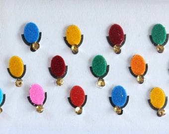 25 Plain Oval Shape Colored Bindis, Wedding Bindis,Velvet Colorful Bindis, Face Bindis,Bollywood Bindis,Self Adhesive Forehead Sticker