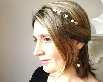 Wedding headband Bohemian-nude and metal bronze-glass beads and Crystal spirit romantic and rustic.