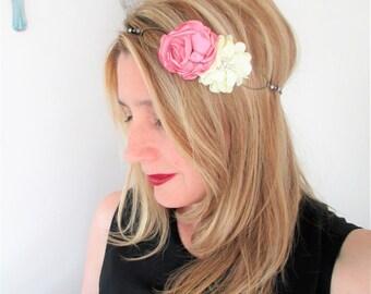 Headband wedding flower ivory and dusty rose - ceremony, bride, bridesmaid jewelry - Bohemian, romantic.