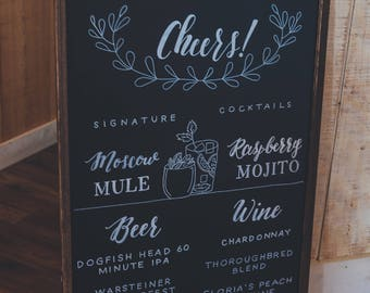 Custom Bar Menu Chalkboard MEDIUM | Wedding Bar Menu | Wedding Drink Menu | Signature Drink Sign