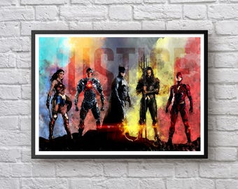 Justice League Watercolor Print, Wonder Woman Aquaman Superman Batman The Flash, DC Comics Children's Birthday Gift Superhero Print Wall Art
