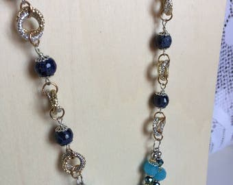 Aluminum and blue agate necklace and celeste