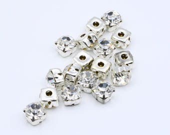 7mm (SS34) Crystal Clear Glass stones with setting // Sew-on