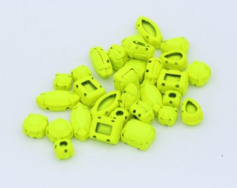 Mixed  Neon Yellow matte Painted Acrylic stones with Setting // Sew-on