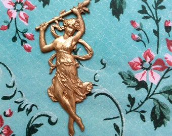 Large/Rare/Vintage/French/ Nouveau Dancing Goddess/Stampings/Die Cast/Ormolu/ Brass/Flat Back/Jewelry/Pendant/Charm/Embellishment/Finding
