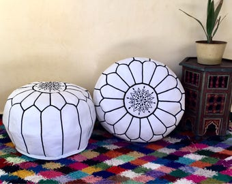 Moroccan Pouf Moroccan leather pouf  Pouf Set of 2  Handmade Leather poufs  Leather Ottoman