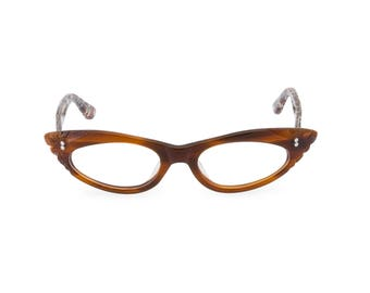1950s Rockabilly cat eye 'GINA' Tawny Brown & Leopard. Reading strength or glaze to your optical prescription