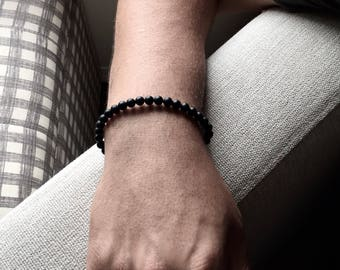 Mens bracelet, 6mm matte black onyx beaded bracelet, beaded band