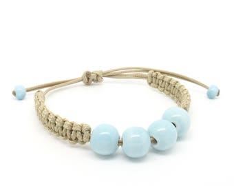 Ceramic beaded bracelet, cord bracelet, adjustable bracelet, stacking bracelet, woman gift, gift for her