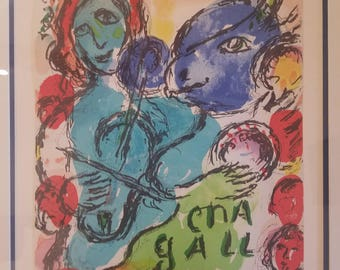 Original Marc Chagall Lithograph Cover from book Derriere Le Miroir