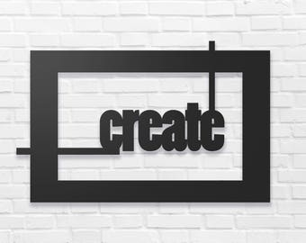 "Create Metal Wall Sign Art, Home Decor Gift 18.5""x12""  Wood,vein,color options"