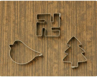Life. Cookie Cutters set of 3 pieces. Evergreen Tree, Bird & Swastika
