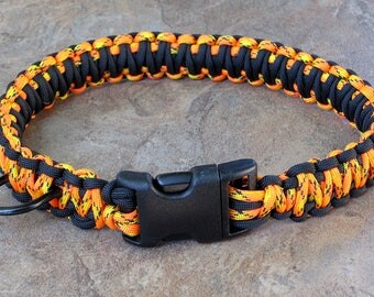 Paracord Dog Collar (550) King Cobra Pattern - pick your colors !!