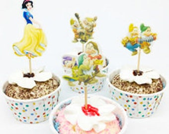 48 Snow White and the Dwarfs Cupcake Toppers Grumpy Dopey