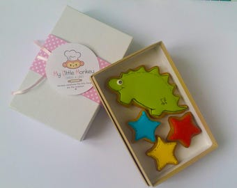 Hand Decorated Dinosaur Biscuits Small Gift Box, handmade biscuits, handmade cookies, personalised cookies, customised cookies,
