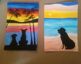 Dogs on the beach silhouette 4X6 paintings set of 2