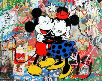 Mr Brainwash Bansky Oil Painting on Canvas Graffiti art Mickey & Minnie Mouse