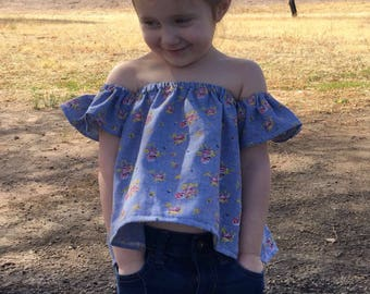 Floral Baby Toddler // Off The Shoulder Toddler Baby Shirt // Toddler Crop Top // Baby Crop Top // Boho Baby // Peasant Top //Tube Top