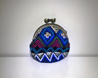 Blue Chevron Tribal Coin Purse | Coin Bag | Change Purse | Change Bag | Wallet | Small Bag