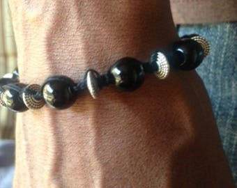Black and Silver Beads on Waxed Cord