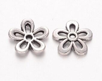 Tibetan style bead, flower, antique silver