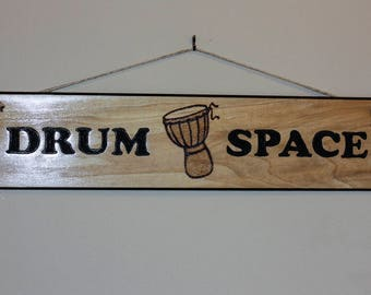 Carved Wood Sign - Drum Space Djembe