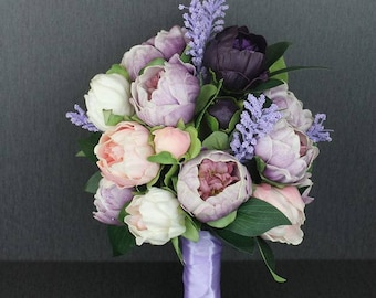 Peony wedding bouquet, artificial bouquet, bridal bouquet, Purple wedding bouquet