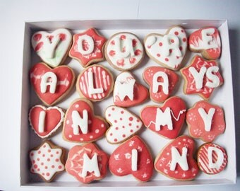 a box of cookies with a message, decorated cookies, sweet gift
