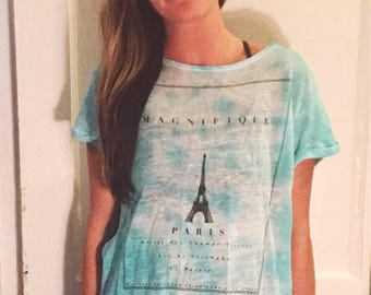 Blue tie dyed graphic tee