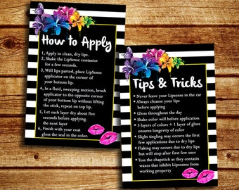 LipSense How To Apply And Tips And Trick Cards - SeneGence Marketing Cards - Instant Download