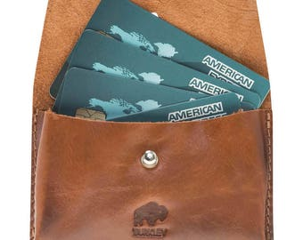 Burkley Business Card Holder in Burnished Tan Leather