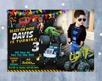 Blaze and Monster Machines Birthday Invitation, Blaze and the Monster Machines Invitation, Blaze Birthday Party Invite, Personalized JPEG