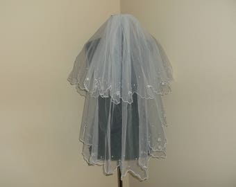 White 2 Tier Rhinestone/Pearl Beaded Wedding Veil