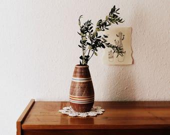 Vintage vase in Brown with stripes