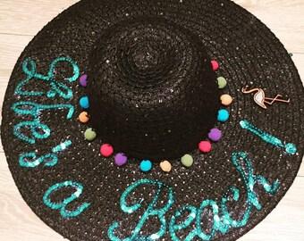 Lifes a beach Honeymoon hat, floppy hat customised hat, custom straw hat, personalised hat, custom beach hat, bridal hat, kids hats