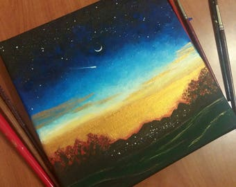 Painting on canvas Star sunset