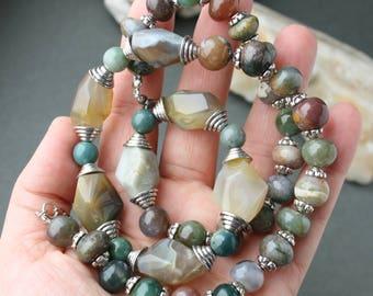 Necklace, Natural Сhalcedony , Сhalcedony Necklace, Natural Stone Necklace
