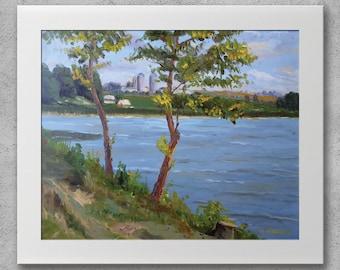 River bank - Original oil painting