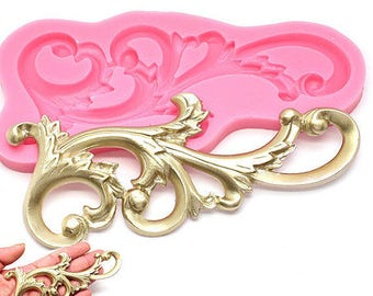 Vintage Scroll Filigree European Relief Silicone Mould Sugarcraft Fondant Fimo Chocolate