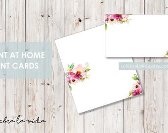 Tent/Placeholder Card. Instant Download. Printable Tent Card. Pink Flowers. -01