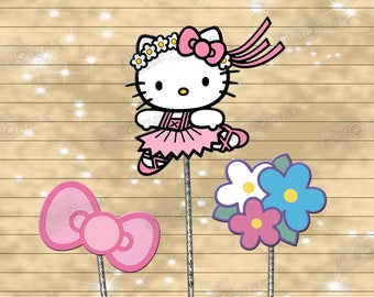 Hello Kitty centerpiece - cake topper double sided birthday decoration - digital download