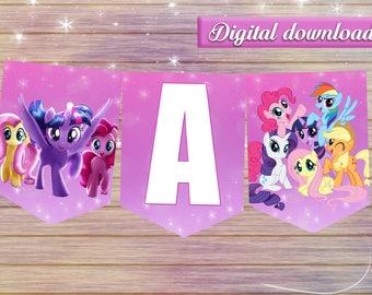 My little pony banner - DIY happy birthday decoration - digital file printable