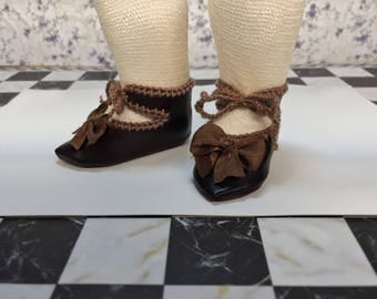 "Leather doll shoes 5 cm  -   2 "" French style for an antique doll dark brown ."