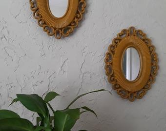 Syroco Mirror Set, Repainted, Mustard Yellow, 1970s