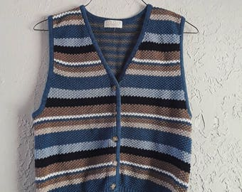 1990s Multi-colored Striped Knit Vest