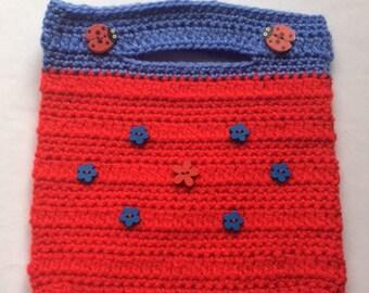 Red & Blue Flowers Crochet Handbag